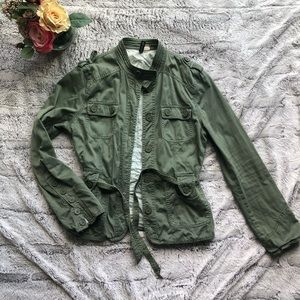 H&M Green Military Jacket with Belt Sz 8